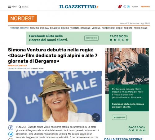 Il Gazzettino - Simona Ventura debutta nella regia: «Docu-film dedicato agli alpini e alle 7 giornate di Bergamo»