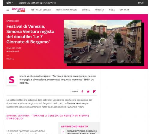 """Sky - Festival di Venezia, Simona Ventura regista del docufilm """"Le 7 Giornate di Bergamo"""""""