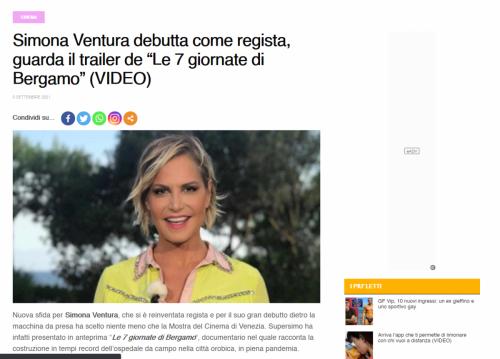 """Spyit.it - Simona Ventura debutta come regista, guarda il trailer de """"Le 7 giornate di Bergamo"""""""