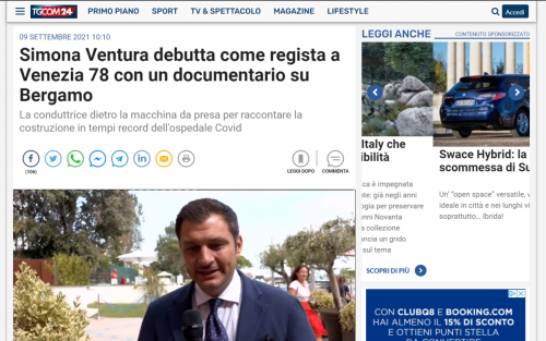 VIDEO: TgCom 24 - Simona Ventura debutta come regista a Venezia 78 con un documentario su Bergamo