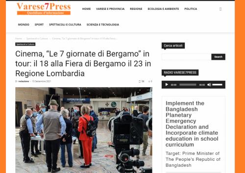 """Varese 7 Press - Cinema, """"Le 7 giornate di Bergamo"""" in tour: il 18 alla Fiera di Bergamo il 23 in Regione Lombardia"""