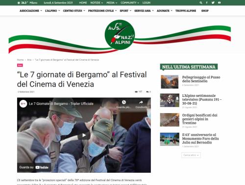 """Ana: """"Le 7 giornate di Bergamo"""" al Festival del Cinema di Venezia"""